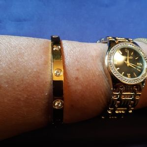 Jewelry - 18k gold over Stainless steel with cz's